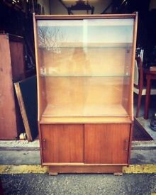 MID CENTURY TEAK DISPLAY CABINET - Antique Vintage Retro