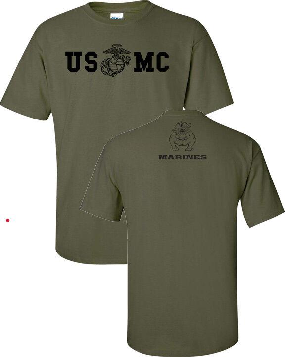 Marine Corps BULLDOG USMC Military Front & Back Print Men's Tee Shirt 842