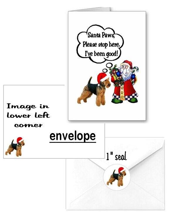 30 Welsh Terrier Christmas cards seals envelopes 90 pieces Santa Paws design
