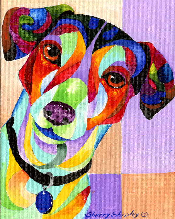 JACK RUSSELL 8X10  DOG Colorful Print from Artist Sherry Shipley