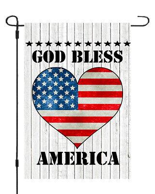 God Bless America Patriotic USA Heart Garden Banner Flag 11x14 - 12x18 ()