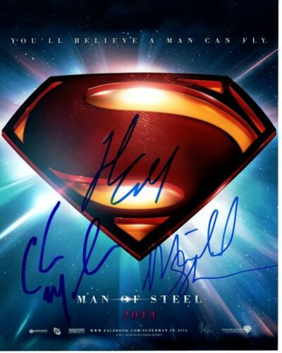 HENRY CAVILL CHRISTOPHER MELONI MICHAEL SHANNON signed MAN OF STEEL 8x10 photo