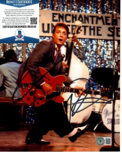 MICHAEL J. FOX signed 8x10 BACK TO THE FUTURE MARTY MCFLY photo Beckett BAS