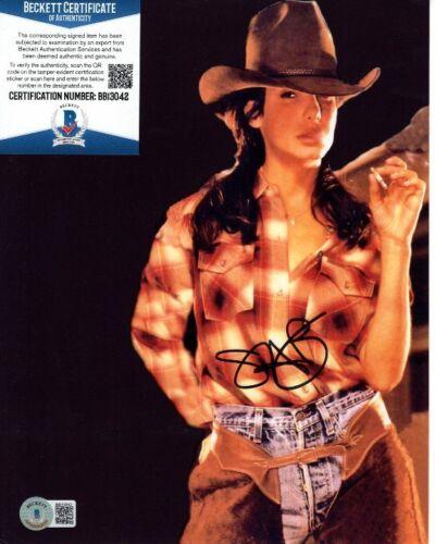 SANDRA BULLOCK signed 8x10 SEXY COWGIRL SMOKING photo Beckett BAS