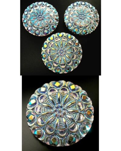 """3 Czech Crystal Glass LACY Buttons #B468 - 27 mm or 1"""" -  IRIDESCENT!!!!!!!!!!!!"""