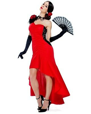SPANISH MEXICAN LATIN SIZZLING SENORITA FLAMINGO DANCER COSTUME ADULT RED DRESS - Costume Flamingo