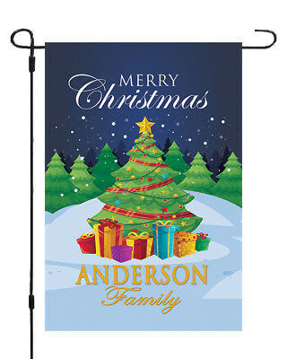 Personalized Merry Christmas Tree Garden Banner Flag 11x14 Custom Family Name