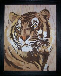 WOODBURNED AND COLORED TIGER ON BIRCHBARK IN FRAME