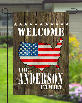 Welcome American US Flag Custom Personalized Name Garden Banner Flag 11x14-12x18 ()