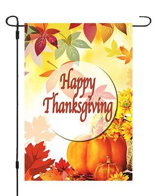 Happy Thanksgiving Fall Leaves Garden Banner Flag 11x14 Season Yard Decor - Happy Thanksgiving Banners