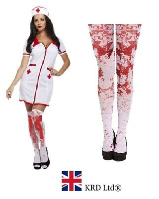 ADULT BLOODY SEXY NURSE + TIGHTS Halloween Fancy Dress Costume Party Zombie UK ()