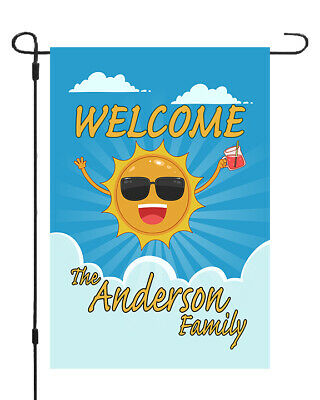 Welcome Summer Cool Sun Custom Personalized Name Garden Banner Flag 11x14-12x18 ()