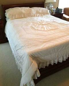 Lace Trimmed Quilt and Shams