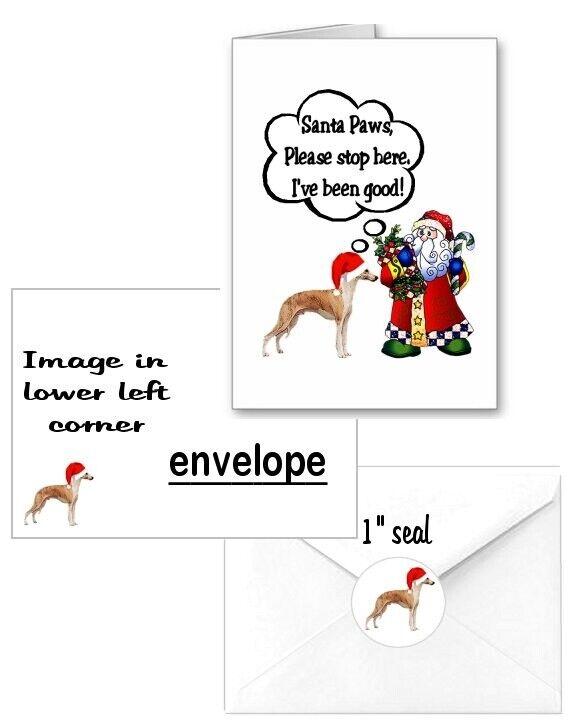 30 Whippet Christmas cards seals envelopes laser 90 pieces Santa Paws design