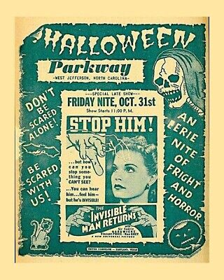 Parkway Drive In West Jefferson, NC Gloss 8x10 Print Vintage Halloween Movies Ad