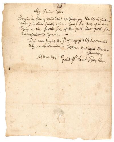 c. 1670 Plymouth Colony Descendants + Black Sachem, Wampanoag Indian Land Deed