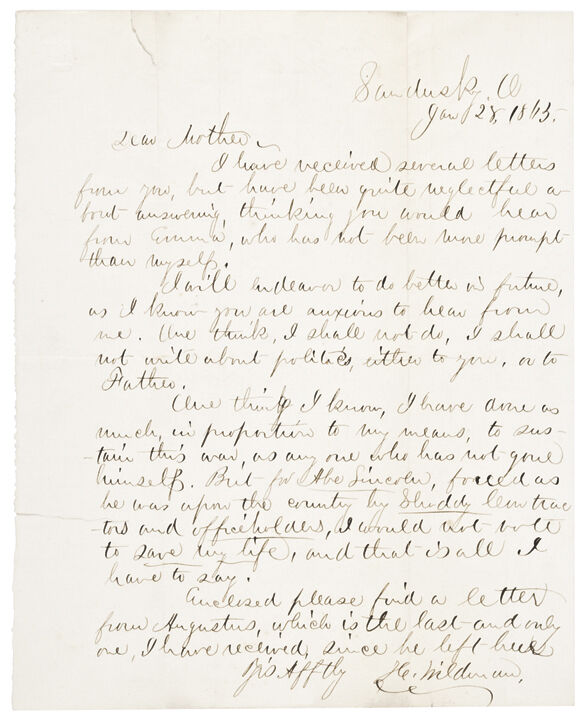 1863 Civil War Letter On Abraham Lincoln And Politics