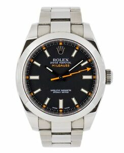 ROLEX MILGAUSS 116400 STEEL WATCH 40MM 2011 BOX AND PAPERS