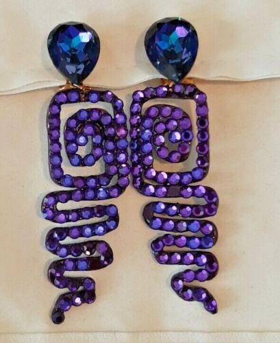 Vtg Signed BELLINI by FORMART Purple Swarovski Spiral Drop Dangle Clip Earrings