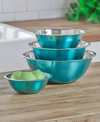 Set of 4 Turquoise Deep Mixing Serving Bowls Stainless Steel Kitchen Food Prep