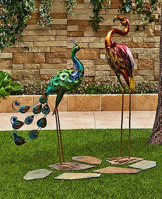 Colorful Peacock Owl Rooster Flamingo Metallic Bird Art Statue Yard Garden Lawn