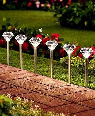 Set Of 6 Solar Stake Lights Diamond Shaped Accent Lighting Outdoor Pathway Yard