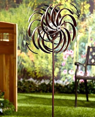 Double Spiral Solar Lighted Garden Pinwheel Wind Spinner Yard -