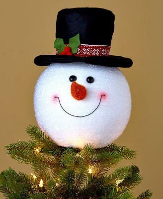 DECORATIVE SNOWMAN TREE TOPPER: LIGHTWEIGHT, SMILING FACE TOP HAT, HOLIDAY DECOR