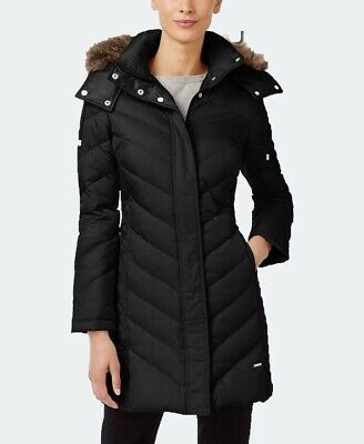 KENNETH COLE Ladies Black Faux-Fur-Trim Feathers And Down Puffer Coat Size Small
