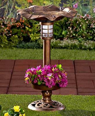 The Lakeside Collection Bronze Solar Lighted Birdbath with Planter