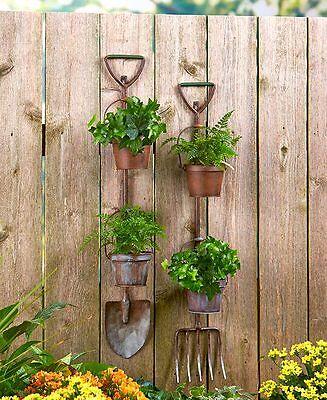 Rustic Metal Shovel Pitchfork Garden Tool Hanging Planters 2 Flower Pots Fence