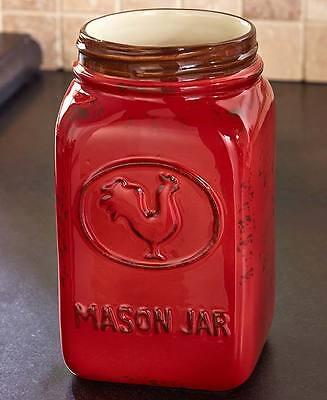 Country Mason Jar Utensil Holder Vase Crock Rooster Red Rustic Kitchen Storage