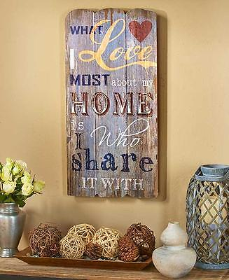 Hanging Plank Wood LOVE HOME SHARE Wall Sign Rustic Country Kitchen Home Decor