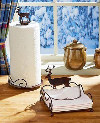 Northwoods Evergreen Wild Deer Paper Towel Holder Rustic Bear Napkin Holder Set