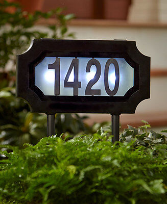 Solar LED Lighted Address Stake House Marker Sign Plaque Yard Outdoor Home Decor