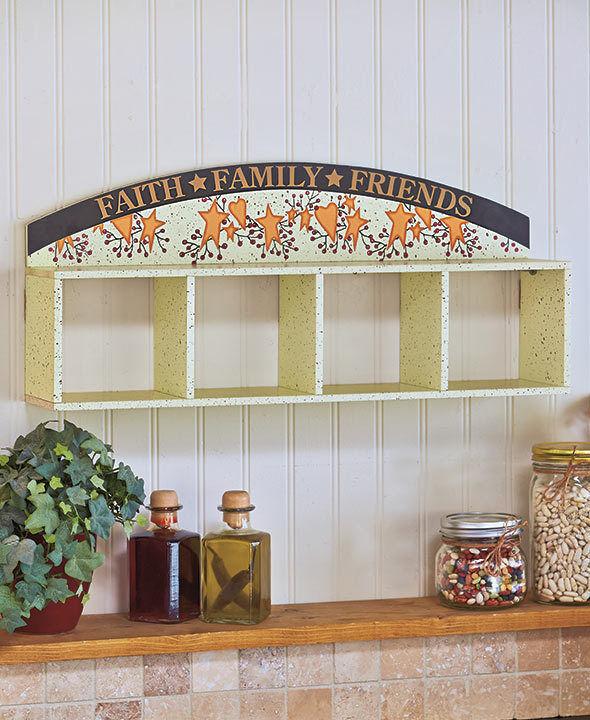 Primitive Hearts Stars Hanging Storage Unit Berries Folk Art Wall Shelf Decor
