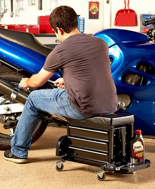 Rolling Work Seat Bench With Built In Toolbox Garage Auto