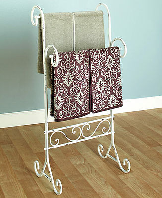 شماعة حمام جديد Small Free Standing Towel Rack Shabby Chic Bathroom Décor Vintage Accessories