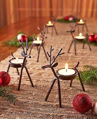 Set Of 6 Reindeer Tea Light Candle Holders Christmas Holiday Rustic Home Decor