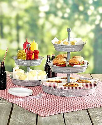2 or 3 Tier Galvanized Serving Tray or Utensil Caddy Outdoor Party Snack - Tiered Serving Stand