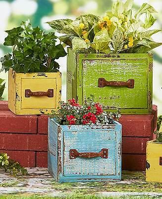 Set Of 3 Multi Color Wood Drawer Flower Planters Lawn Patio Porch Garden Decor