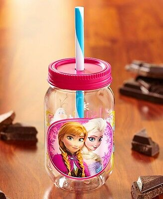 Mason Jar Tumblers Kids Cups with Plastic Straw - Anna and Elsa