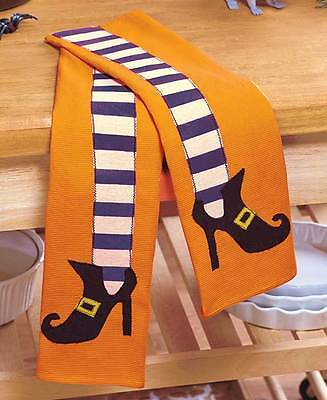 Halloween Dish Towels (Set/2 Witches Legs Holiday Tea Kitchen Dish Towels Whimsical 14x22 Gift)