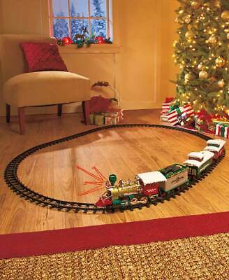 20-Pc. Set Lighted Christmas Train Santa Realistic Sounds Under Tree Decor