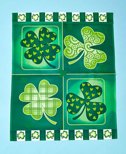 New SHAMROCKS Jumbo Garden Flag Yard Garden Home Decor Spring St Patricks Day