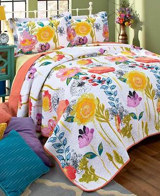 Watercolor Themed Quilts or Shams Reversible Floral Colorful 3-Pc Set Discounts