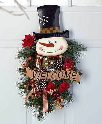 "The Lakeside Collection 24"" Festive Snowman Holiday Swags"