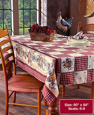 Checkered Table (Primitive Country Hearts Stars Checkered Table Cloth Folk Art Berries)