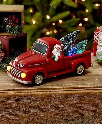 Holiday Lighted Vehicle Red Truck Santa Vintage Style Christmas Home Decoration