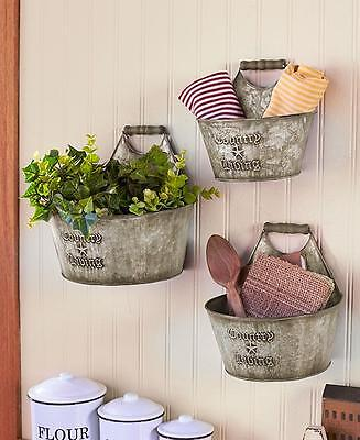 3 PC Primitive Country Rustic Farmhouse Embossed Galvanized Wall Bucket Set
